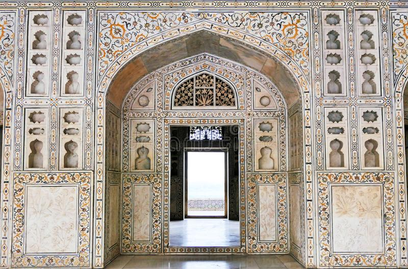 Scenic Architectural Details and Wall Decoration inside Agra Fort in Agra, Uttar Pradesh Region of India. Scenic Architectural details inside Agra Fort in Agra stock image
