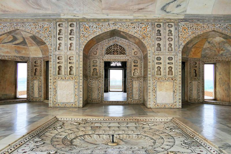 Scenic Architectural Details and Wall Decoration inside Agra Fort in Agra, Uttar Pradesh Region of India. Scenic Architectural details inside Agra Fort in Agra royalty free stock image