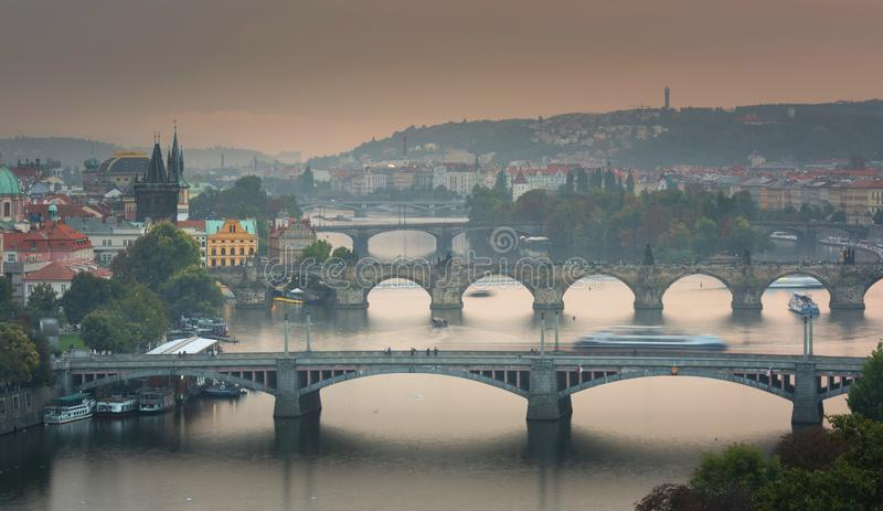 Scenic Autumn aerial view of the Old Town, Prague stock images
