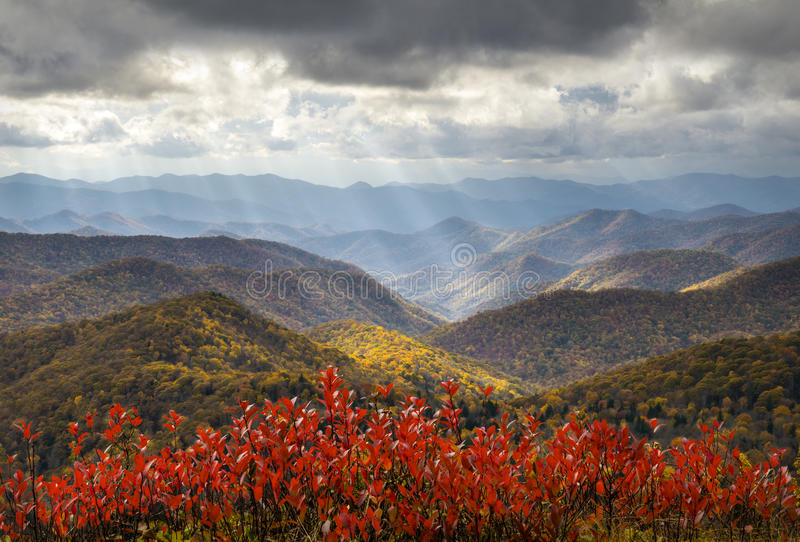 Scenic Autumn Blue Ridge Parkway Fall Foliage Crepuscular Light Rays. Travel and vacation destination royalty free stock images