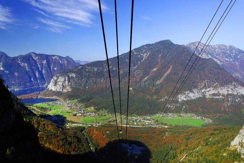 Scenic autumn landscape of the Austrian Alps from the Krippenstein Dachstein cable car. stock image