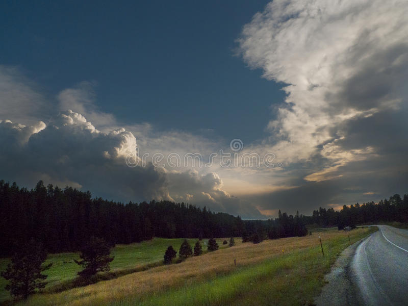 Scenic Black Hills Sunset with winding roads royalty free stock photo