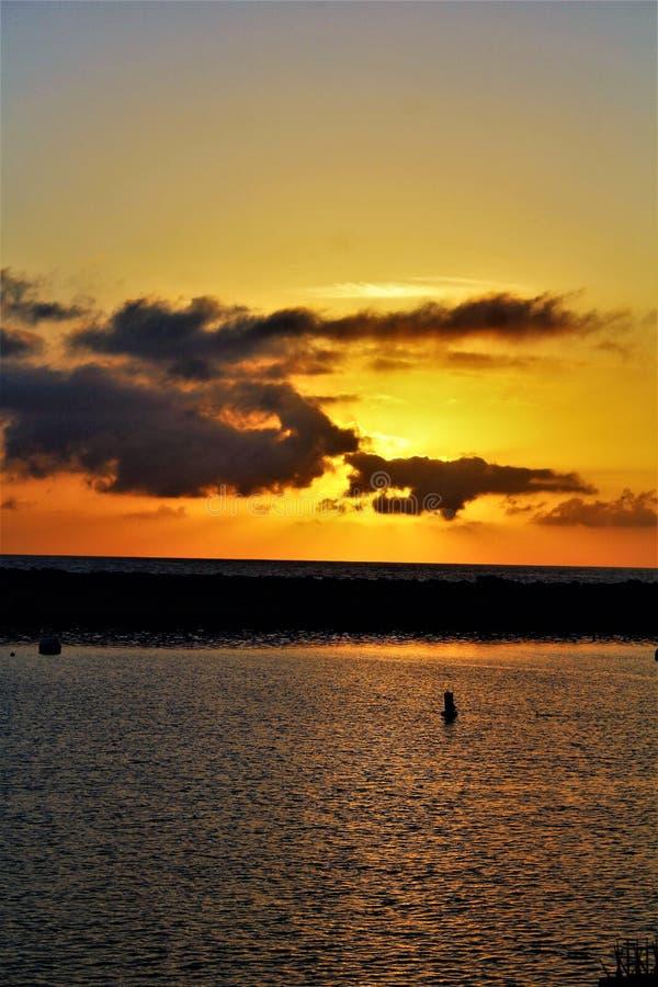 Portifino California ocean side sunset in Redondo Beach, California, United States. Scenic breathtaking sunset view of oceanside at Portifino, Redondo Beach, in stock images
