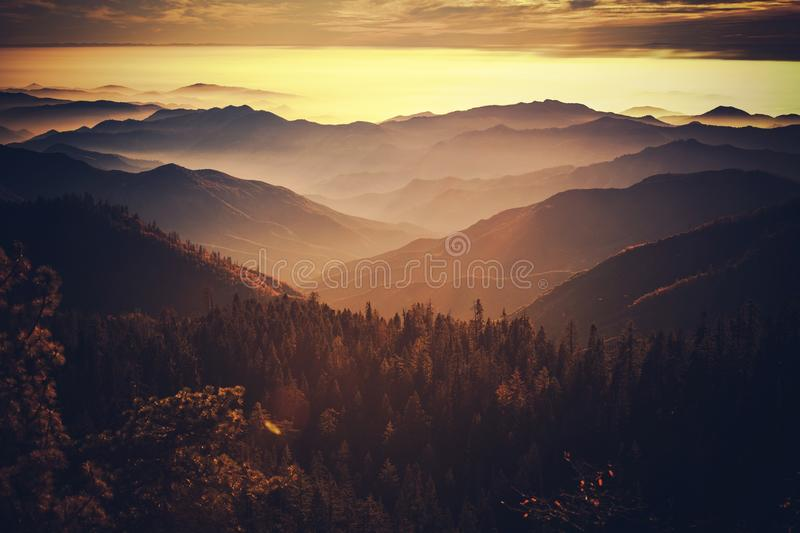 Scenic California Sierra Nevada. Scenic Sunset in the California Sierra Nevada Mountains. Photo Taken From Sequoia National Park. California, United States of royalty free stock photography