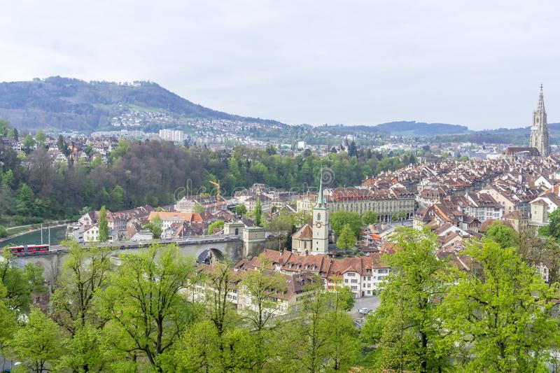 Scenic of The city of Bern, the capital of Switzerland.The Aare river flows in a wide loop around the Old City of Bern. royalty free stock photos