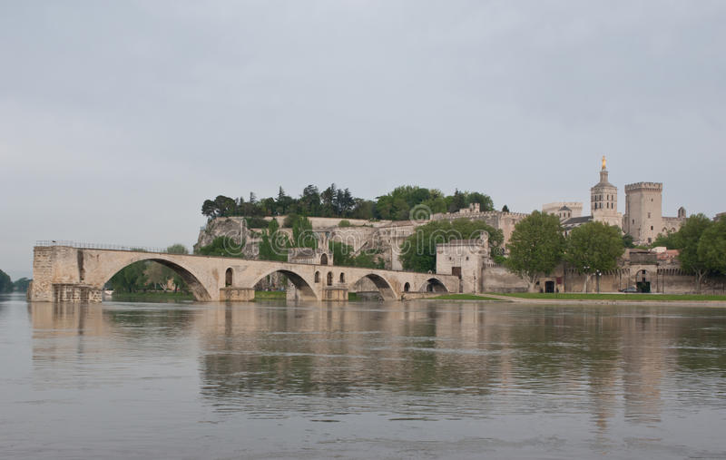 The scenic cityscape of Avignon. From another side of the Rhone river you can see all landmarks of Avignon stock images