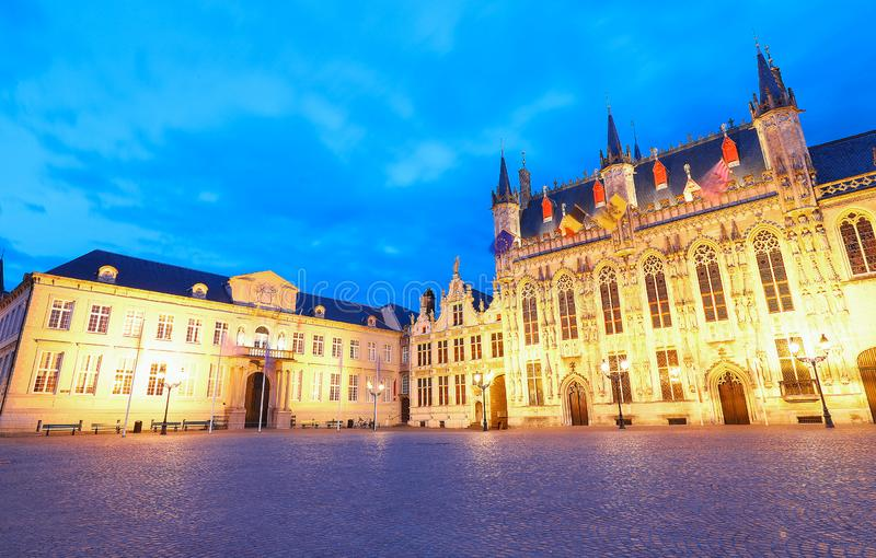Scenic cityscape with the night medieval Burg Square in Bruges, Belgium. Scenic cityscape with the picturesque night medieval Burg Square in Bruges, Belgium stock photos