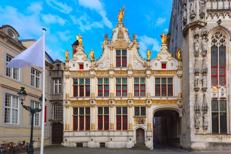 Burg Square in Bruges. Scenic cityscape with the picturesque medieval Burg Square in Bruges, Belgium stock photo