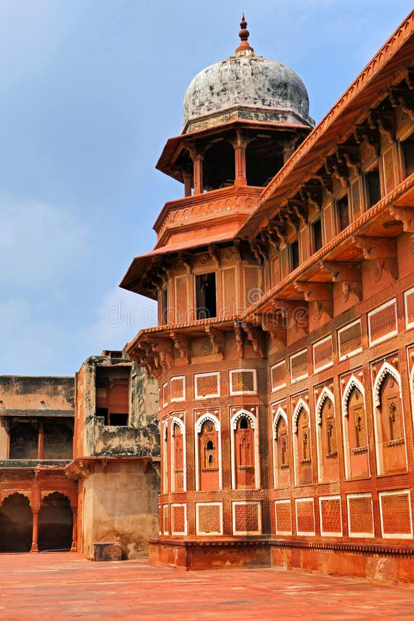 Scenic Classic View of the Ancient Watch Tower of Agra Fort, India. Classic View of the Ancient Tower inside Agra Fort, India in Summer royalty free stock photos