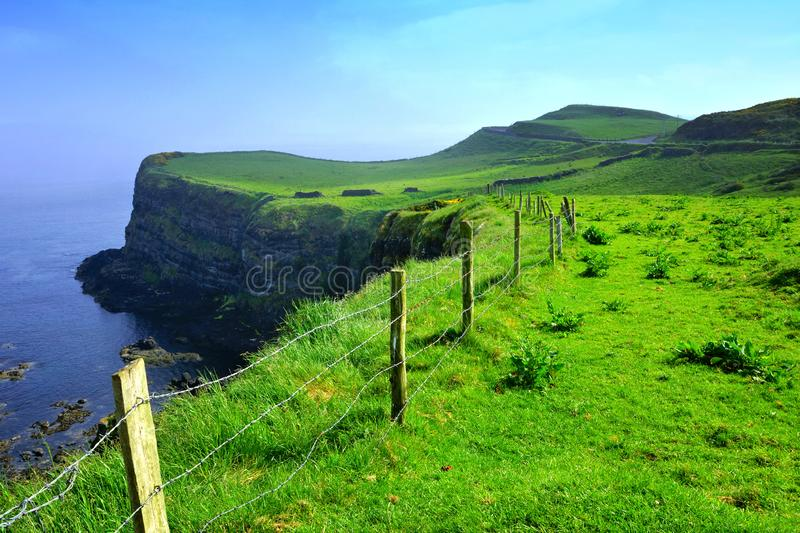 Scenic cliffs of the Causeway Coast, Northern Ireland with light early morning fog stock photography