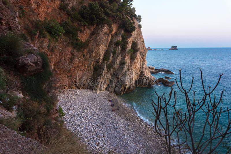 Scenic cliffs on the sea in the evening light. Scenic cliffs on the sea coast in the evening light stock photography
