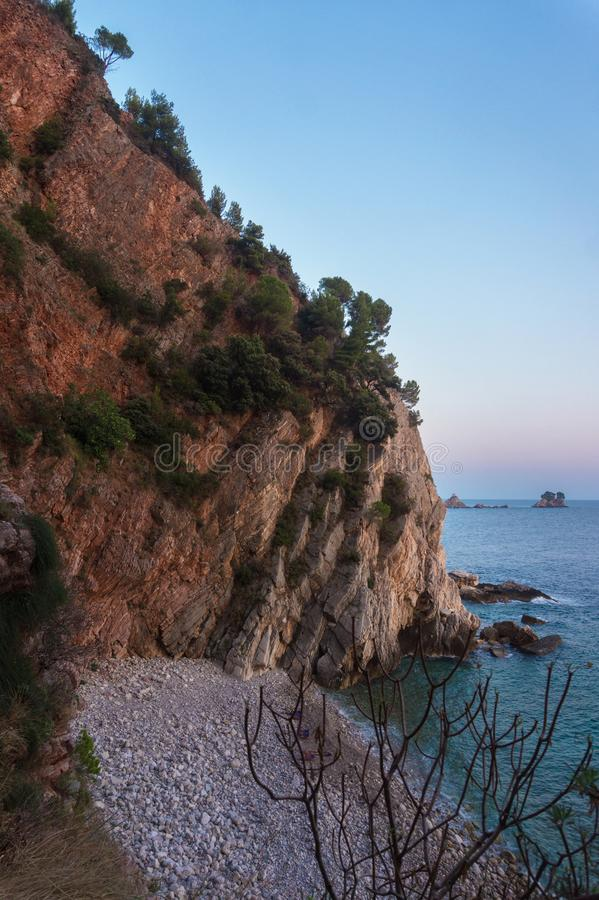 Scenic cliffs on the sea in the evening light. Scenic cliffs on the sea coast in the evening light stock images