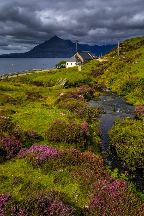 Scenic Coastal Landscape With Mountain River in Picturesque Valley With Flowers And Bridge On The Isle Of Skye In Scotland stock photo
