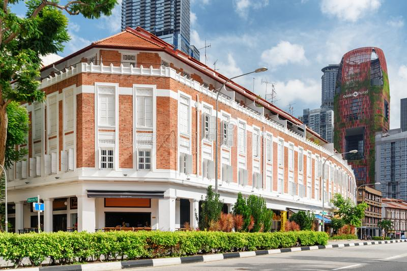 Scenic colonial building on Tanjong Pagar Road in Singapore. Singapore - February 17, 2017: Colonial building at intersection of Tanjong Pagar Road and Murray royalty free stock photography