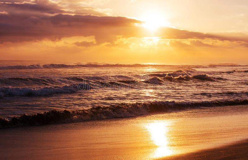 Sea sunset. Scenic colorful sunset at the sea coast. Good for wallpaper or background image royalty free stock image