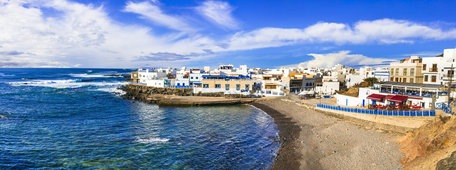 Scenic colorful traditional village El Cotillo with great beach. Fuerteventura. Canary islands stock photo