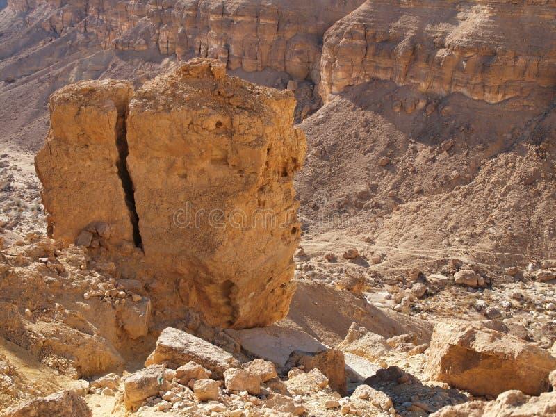 Scenic cracked orange rock in stone desert stock photography