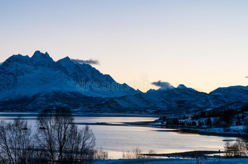 Scenic dawn during polar night at near Lyngseidet village, Norway. Scenic dawn during polar night at Lyngseidet, Norway stock images