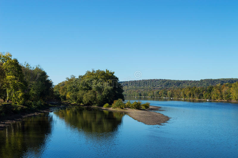 Scenic Delaware River. A scenic view of the Delaware river in early Autumn near Washington Crossing State Park stock photo
