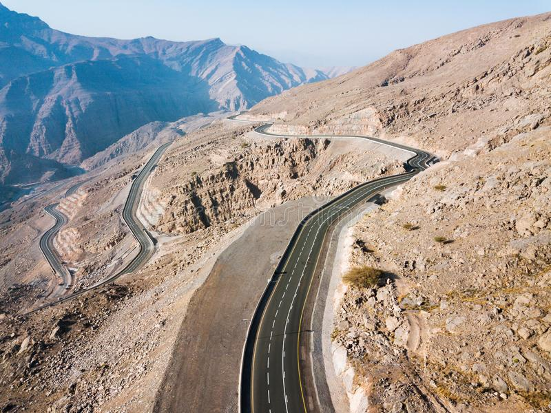 Scenic desert road in Ras al Khaimah emirate in the UAE aerial royalty free stock photos