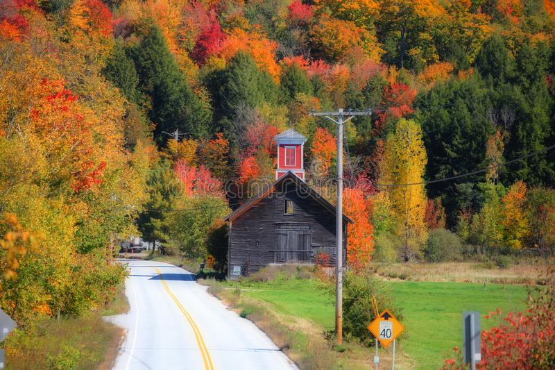 Scenic drive across New England fall foliage royalty free stock images