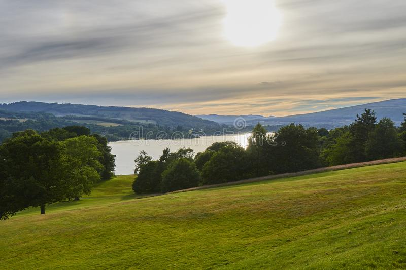 Scenic evening view of Balloch Castle Country Park with Loch Lomond in Scotland, United Kingdom. royalty free stock photography