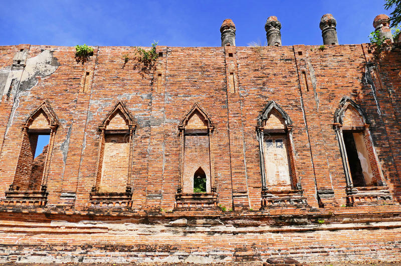 Scenic Exterior View of Ancient Traditional Siamese Style Buddhist Temple of Wat Kudi Dao from Late Ayutthaya Period in The Histor. Ancient Traditional Siamese stock photography