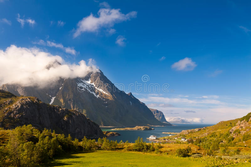 Scenic fjord on Lofoten islands with typical fishing hut stock images