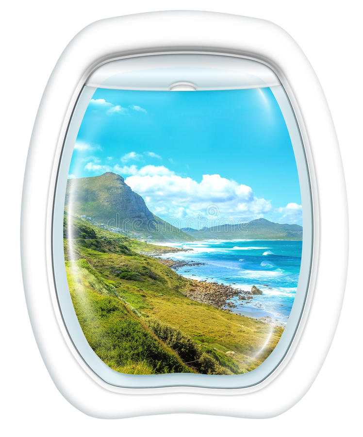 Scenic flight in Cape Peninsula. Aerial view of Misty Cliffs, Cape Peninsula in South Africa, from a plane through the porthole window. Copy space stock image
