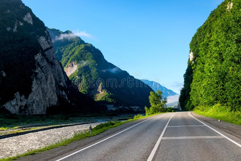 Scenic Georgian Military Highway, High Caucasus Mountains royalty free stock photo