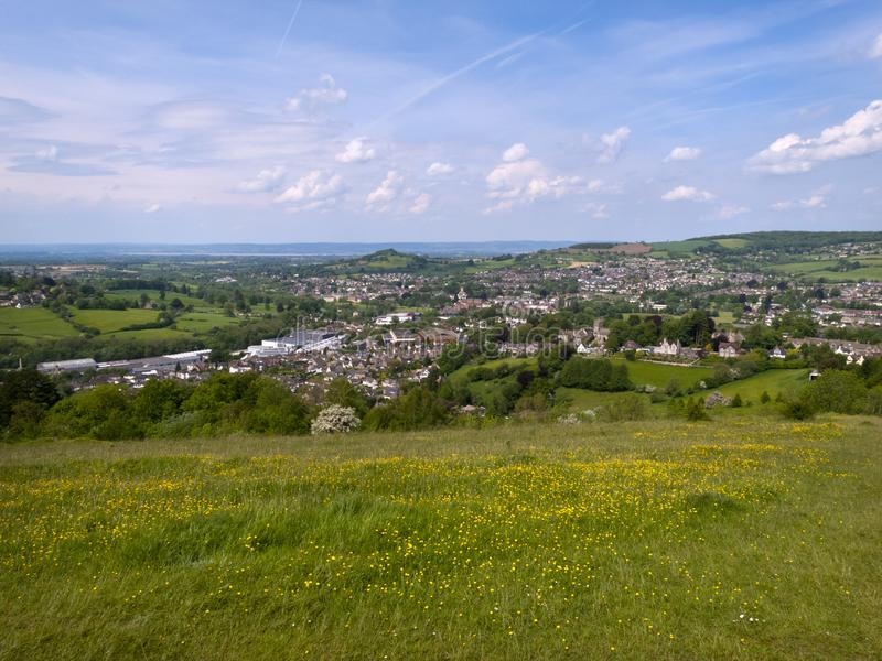 Scenic Gloucestershire, Stroud Valleys. England, Cotswolds, Gloucestershire, view over Stroud and its valleys from Rodborough Common royalty free stock photography