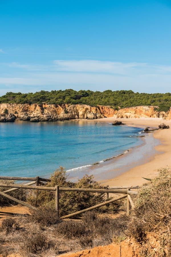 Scenic golden cliffs near Alvor, Portimao, Algarve royalty free stock photos