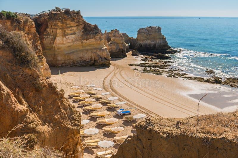 Scenic golden cliffs near Alvor, Portimao, Algarve stock photo
