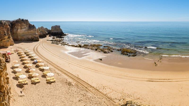 Scenic golden cliffs near Alvor stock photos