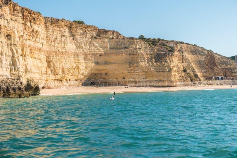 Scenic golden cliffs near Benagil, Lagoa, Algarve royalty free stock photo