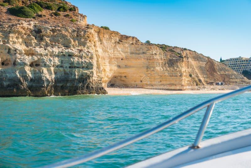 Scenic golden cliffs near Benagil, Lagoa, Algarve royalty free stock photography