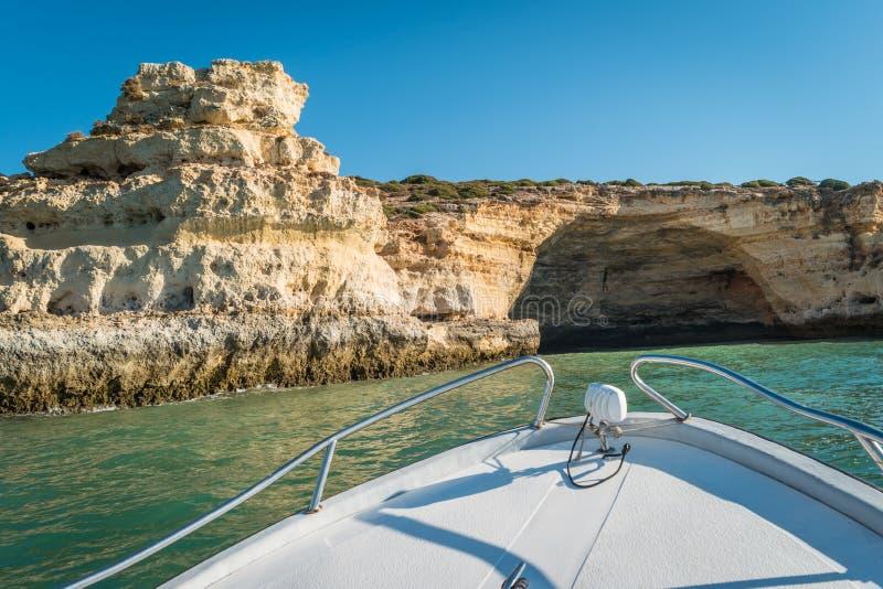 Scenic golden cliffs near Benagil, Lagoa, Algarve. View from a b royalty free stock photos