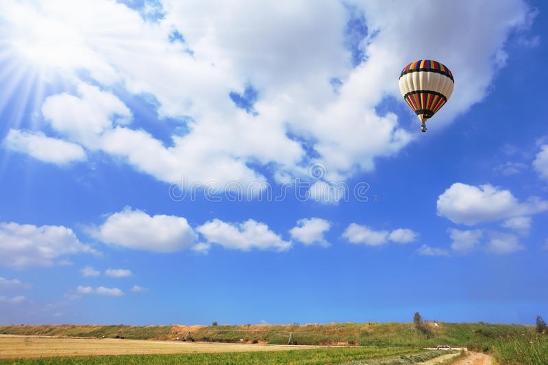 Scenic hot air balloon in free flight royalty free stock photography