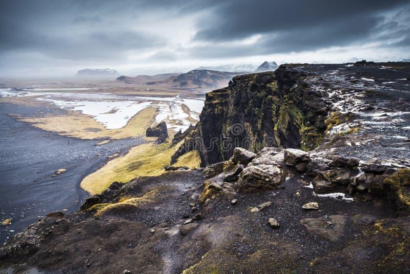 Scenic Icelandic landscape, black sand beach stock photo