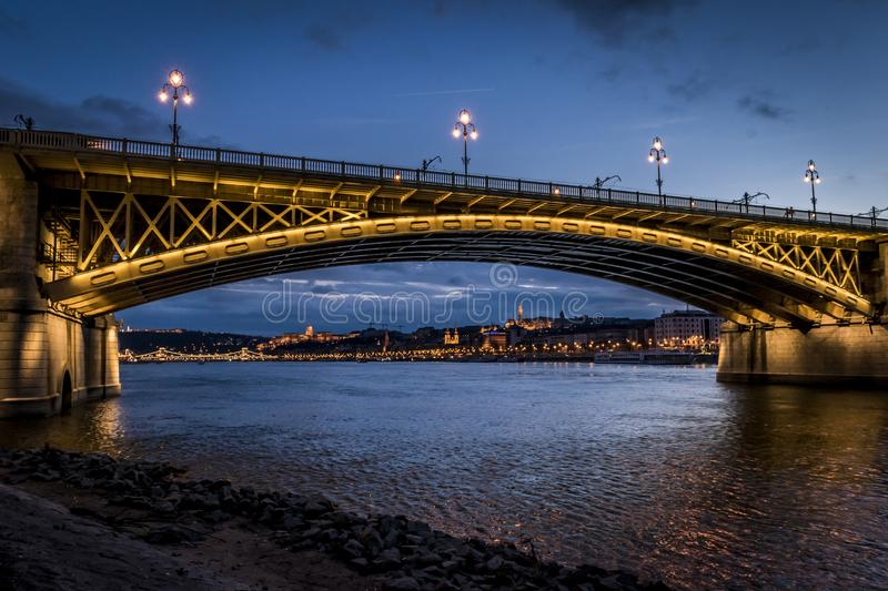 Scenic illuminated city view across river Danube, Budapest, Hungary. royalty free stock images
