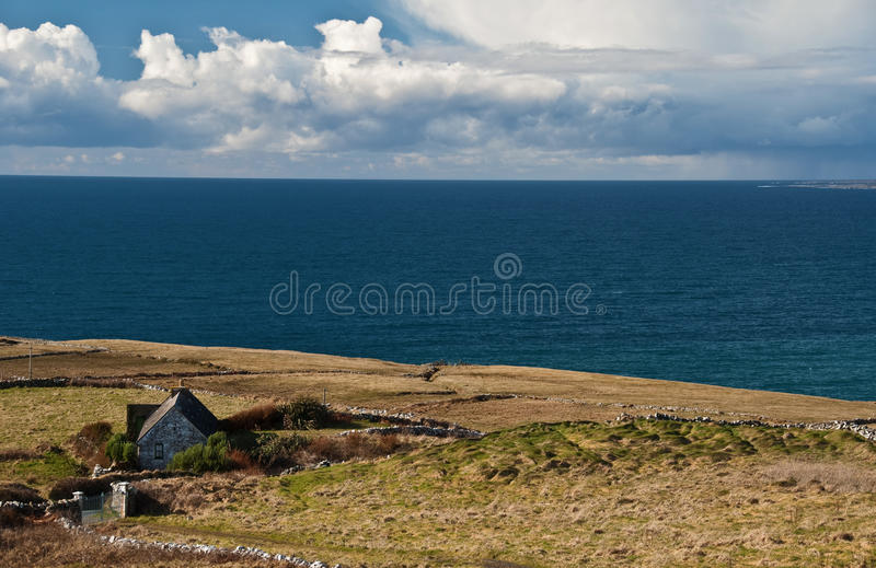Download Scenic Irish Landscape With Old Irish Cottage Stock Image - Image of ocean, beauty: 13453951