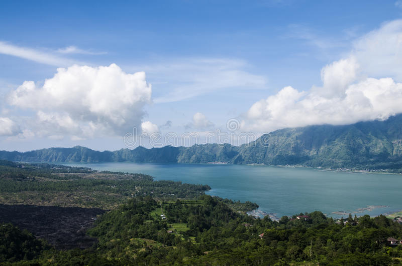 Scenic lake Batur, Bali , Indonesia. A scenic view of Lake Batur, the largest lake of Bali. It is crescent shaped and it can be found in the smaller, secundary stock photography