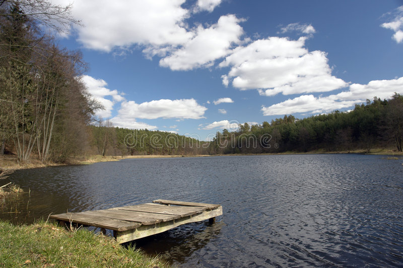 Scenic lake and dock stock images