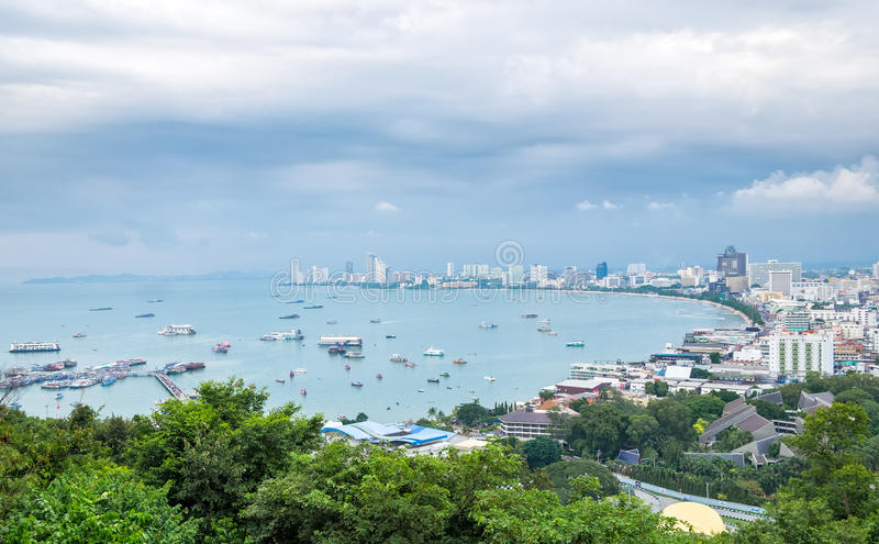 Scenic landmark pattaya bay and city royalty free stock images