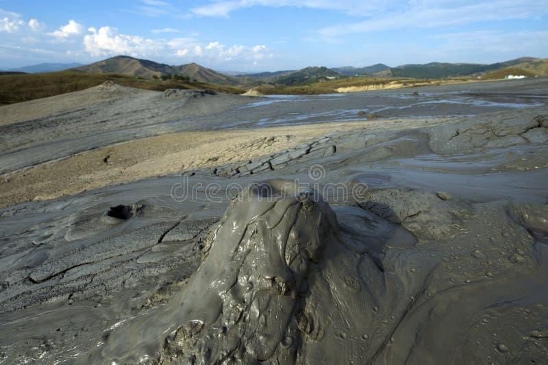 Scenic landscape of active mud volcano in Buzau, Romania. royalty free stock photos