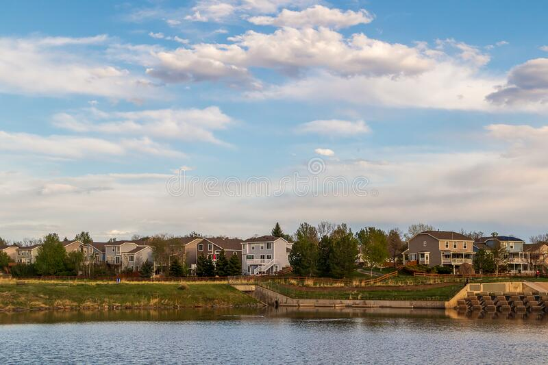 Scenic landscape along the neighborhood trail in the residential area at West Tall Gate Creek royalty free stock image