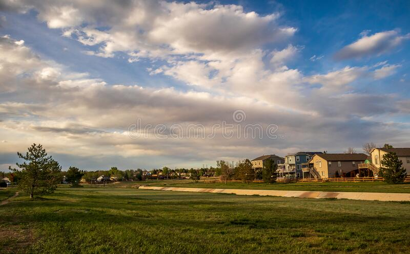 Scenic landscape along the neighborhood trail in the residential area at West Tall Gate Creek stock photography