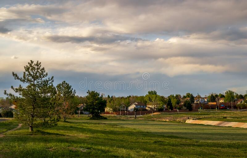 Scenic landscape along the neighborhood trail in the residential area at West Tall Gate Creek stock photos