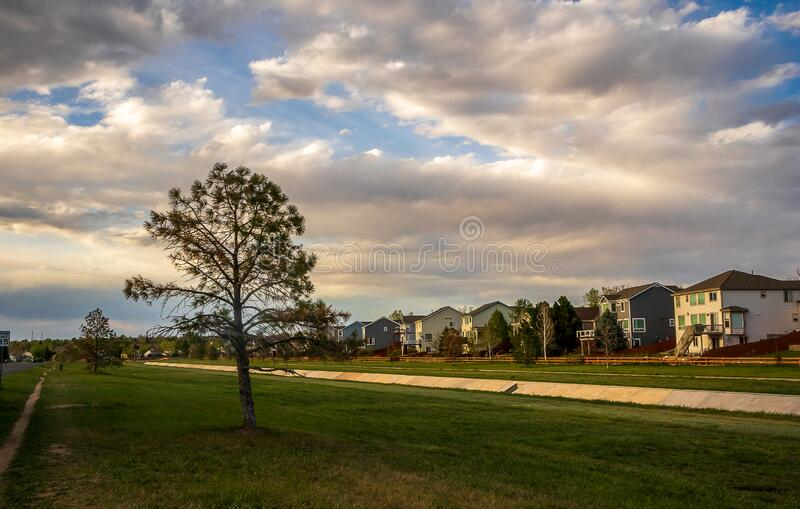 Scenic landscape along the neighborhood trail in the residential area at West Tall Gate Creek royalty free stock photos