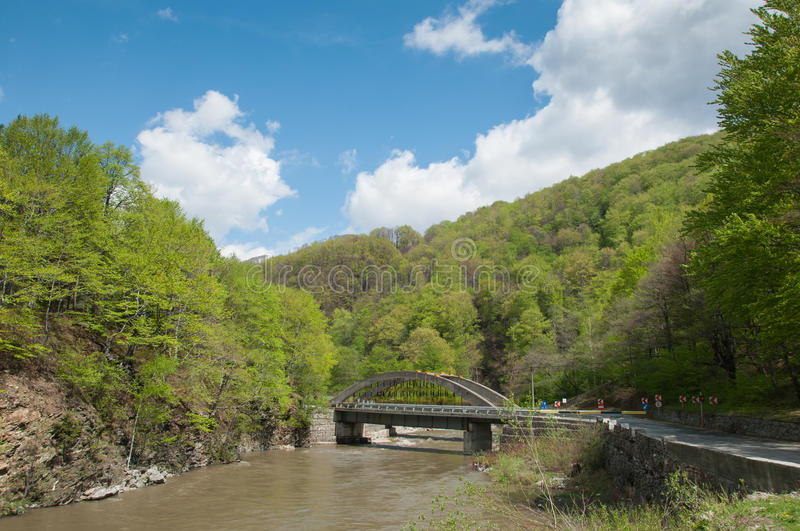 Scenic landscape with a bridge in a canyon stock photo